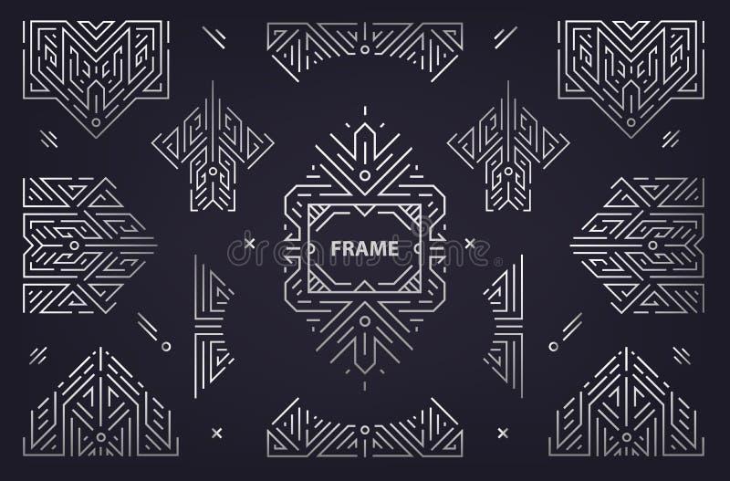 Vektorn ställde in av abstrakta beståndsdelar för den geometriska designen, lyxiga tappningArtdeco garneringar, avdelare Linjär s vektor illustrationer