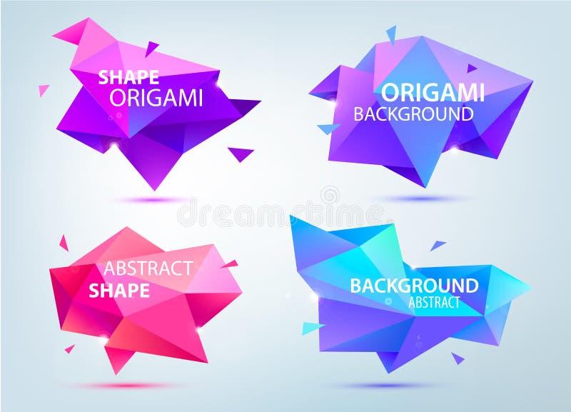 Vektorn ställde in av abstrakta geometriska 3d former, poly origami lågt, papper, fasettbakgrunder, bubbla stock illustrationer
