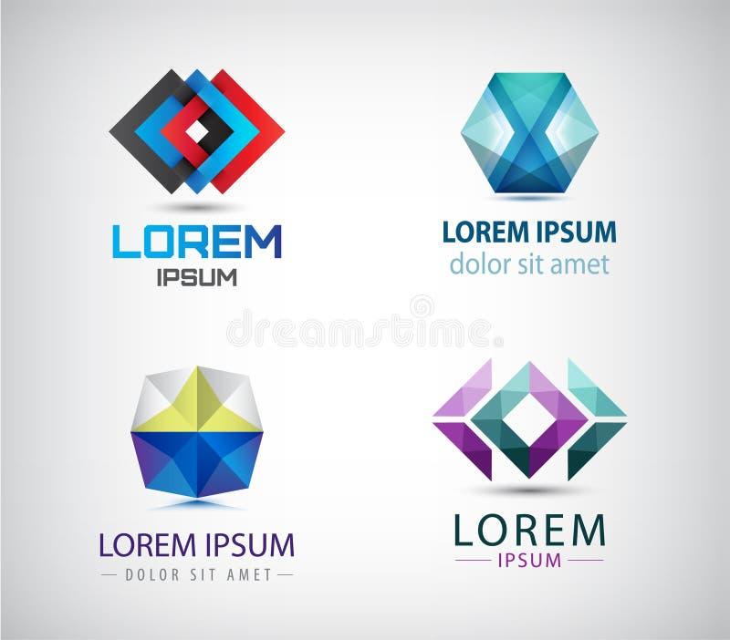 Vektorn ställde in av abstrakta geometriska 3d logoer, former Origami Logo Collection för kristallfasett beståndsdelar för grafis vektor illustrationer