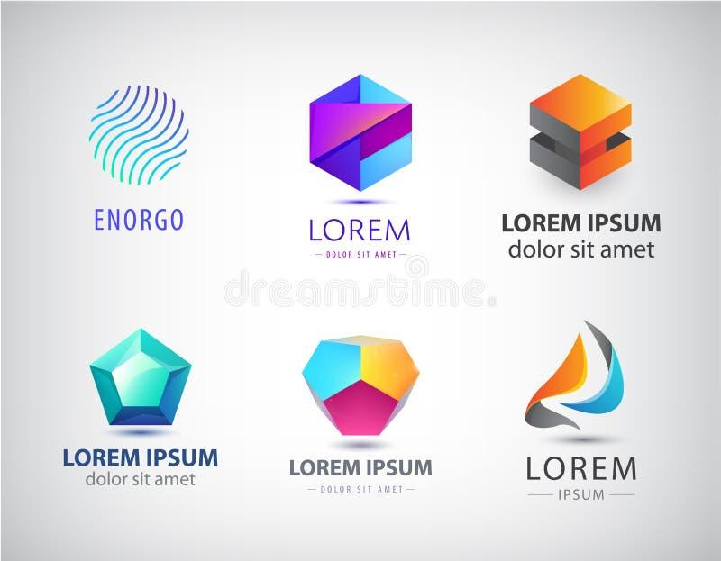 Vektorn ställde in av abstrakta geometriska 3d logoer, former Origami Logo Collection för kristallfasett beståndsdelar för grafis stock illustrationer