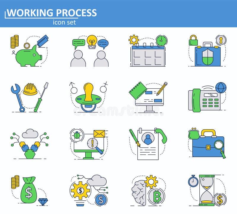 Vektorn ställde in av affärs-, pengar- och bitcoincryptocurrencysymboler i den tunna linjen stil Website UI och mobil rengöringsd stock illustrationer