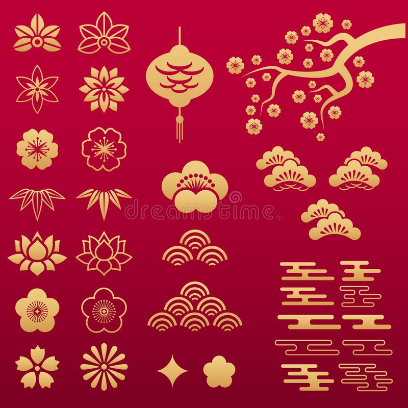 Vektorn ställde in av asiatiska guld- blom- modeller vektor illustrationer