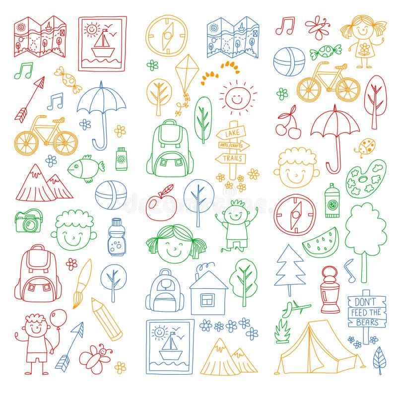 Vektorn ställde in av att campa och att fotvandra symboler för små barn Skola- och dagisungar semestrar vektor illustrationer
