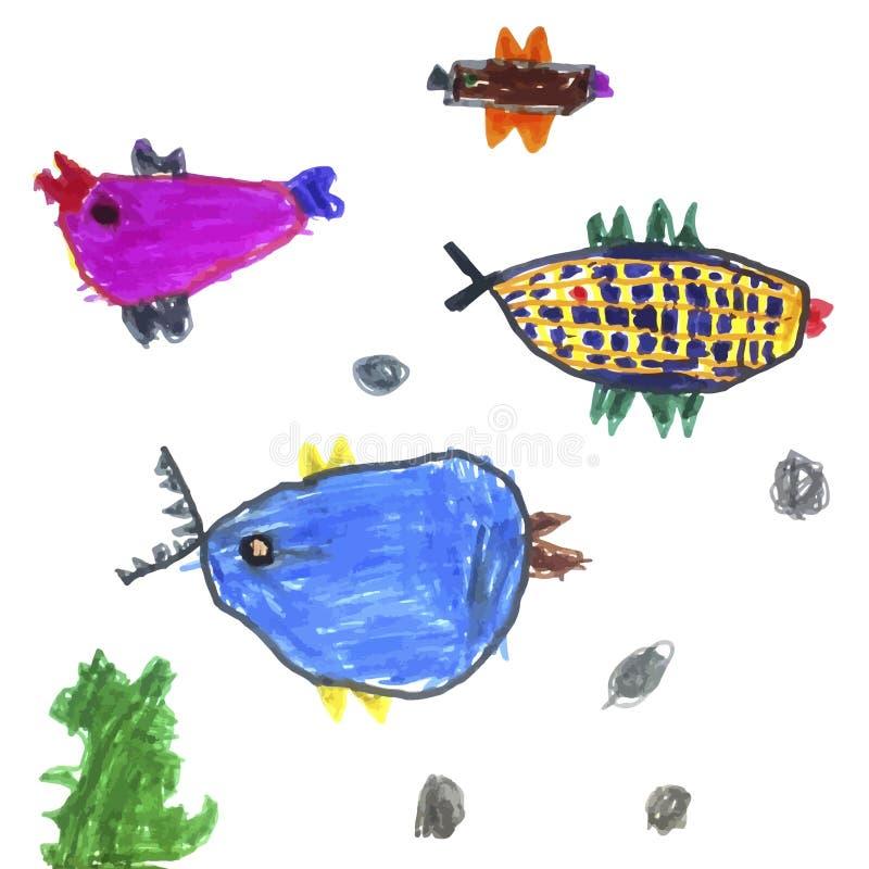 Vektorn ställde in av barns teckningar - fisken och havsväxt Klottra stil Ideal för childsgarnering vektor illustrationer