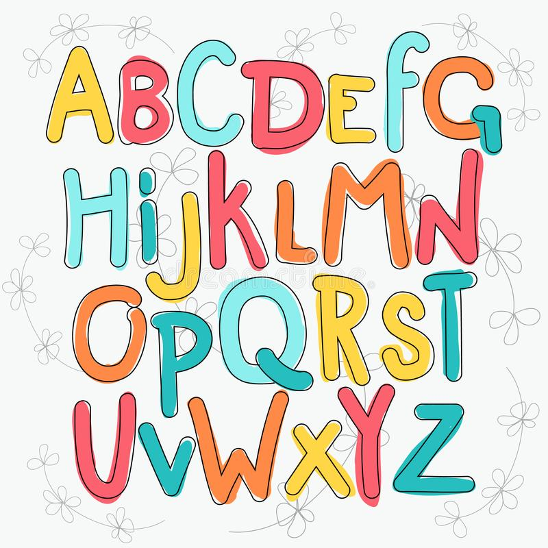 Vektorn ställde in av bokstäver, med en grov handkontur royaltyfri illustrationer