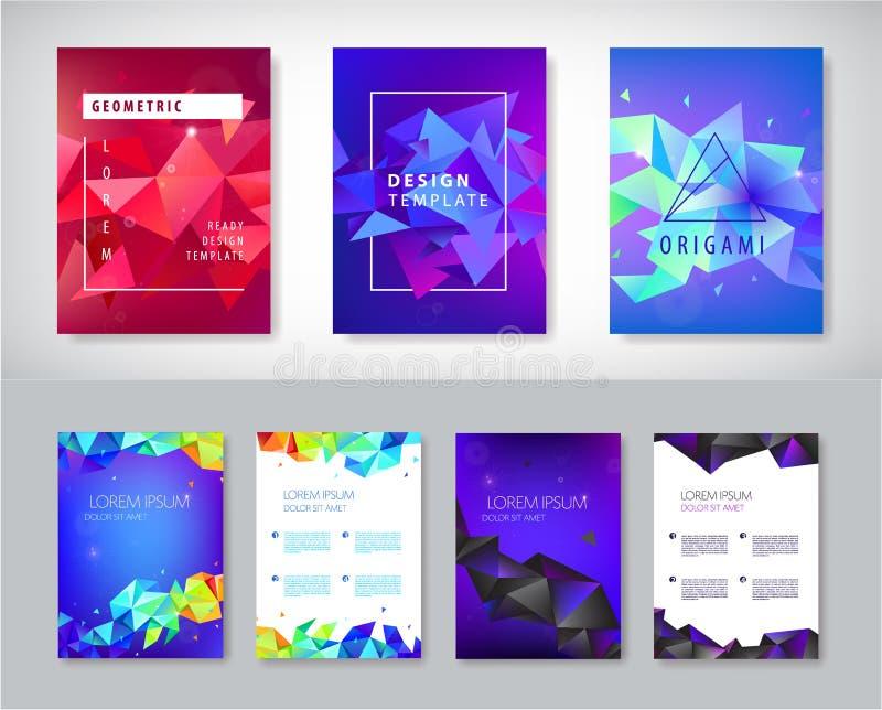 Vektorn ställde in av broschyrdesignmallar, räkningsdesignen, reklamblad Abstrakt affärsreklamblad A4, geometrisk triangelfasett stock illustrationer
