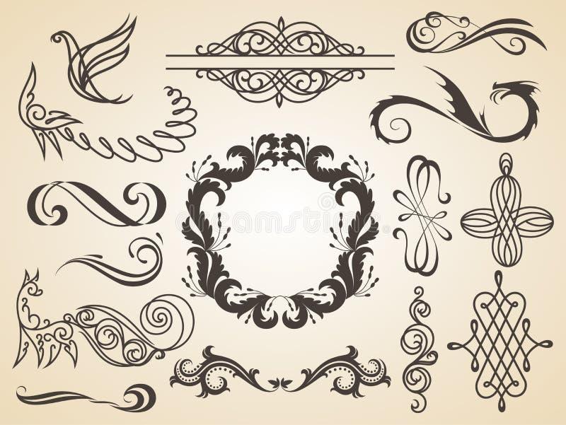 Vektorn ställde in av calligraphic garnering för designbeståndsdelsidan, tillfredsställelsegarantietiketten, calligraphic ramar stock illustrationer