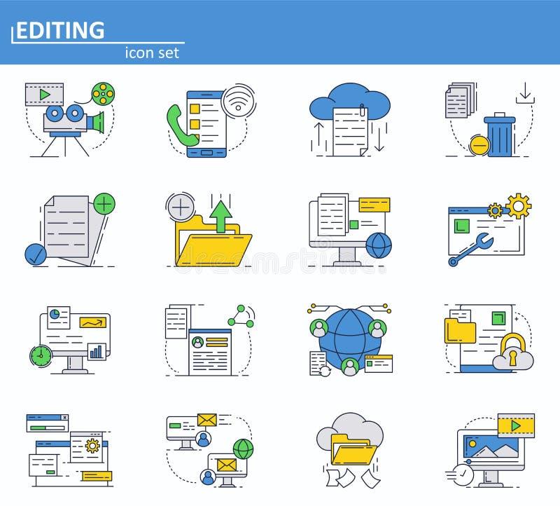 Vektorn ställde in av datatjänstsymboler i den tunna linjen stil Meddelanden email, molnlagring Website UI och mobil rengöringsdu royaltyfri illustrationer