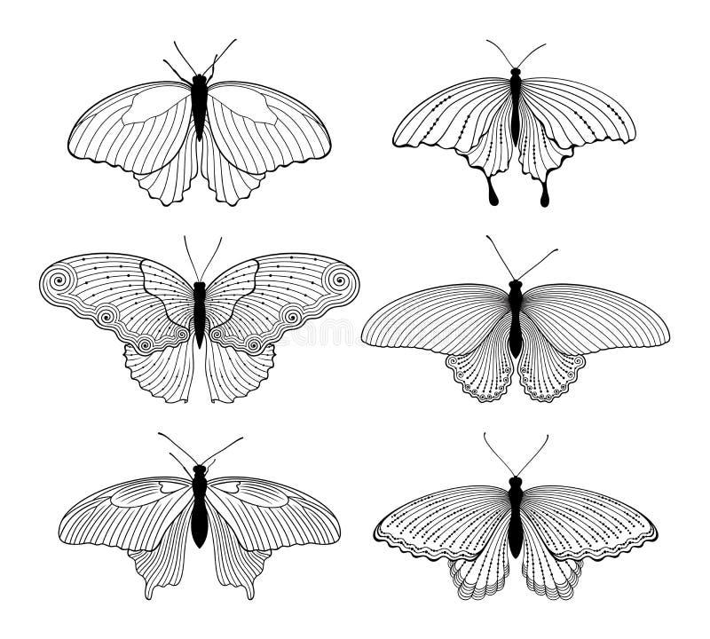 Vektorn ställde in av dekorerade, stiliserade isolerade översiktsfjärilar i svart färg på vit bakgrund stock illustrationer