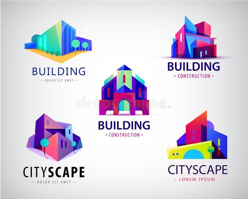 Vektorn ställde in av den abstrakta färgrika staden, det byggande sammansättningstecknet, symbolen, logo som isolerades Fastighet vektor illustrationer