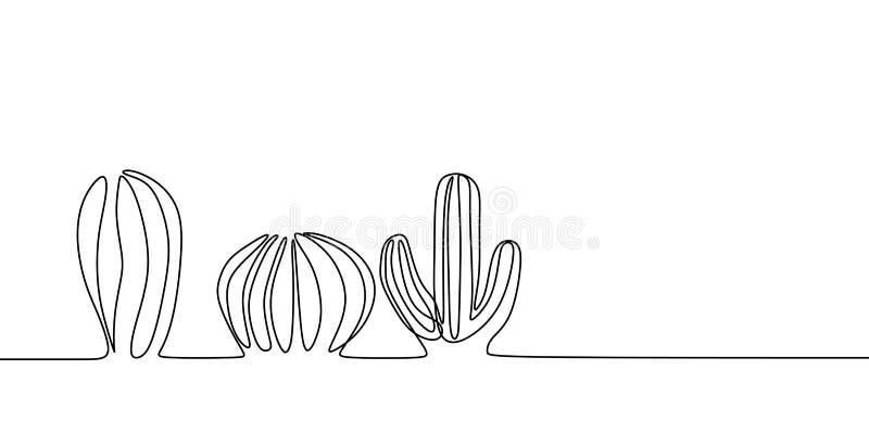 Vektorn ställde in av den gulliga kaktuns som den fortlöpande en linjen den svartvita teckningen skissar husväxter som isoleras p vektor illustrationer
