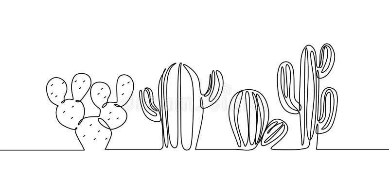 Vektorn ställde in av den gulliga kaktuns som den fortlöpande en linjen den svartvita teckningen skissar husväxter som isoleras p royaltyfri illustrationer