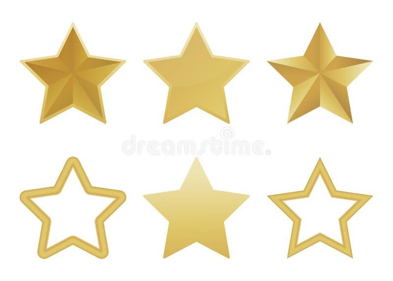 Vektorn ställde in av den realistiska guld- stjärnan 3D på vit bakgrund Glansig julstjärnasymbol också vektor för coreldrawillust royaltyfri illustrationer