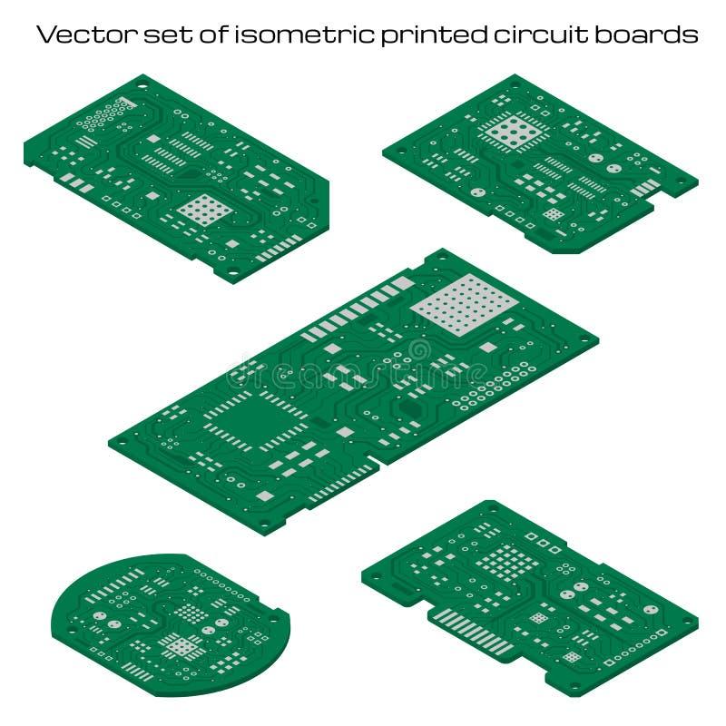 Vektorn ställde in av detaljerade bräden för utskrivaven strömkrets stock illustrationer