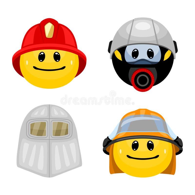 Vektorn ställde in av emoticons i brandmankläder royaltyfri illustrationer