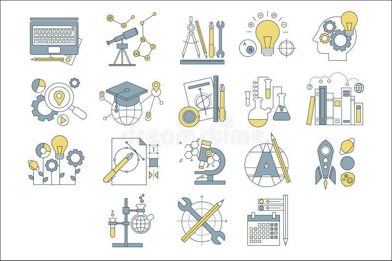 Vektorn ställde in av enkla linjära symboler med den färgrika påfyllningen Utveckling av den mänskliga meningen Kreativitet och u vektor illustrationer