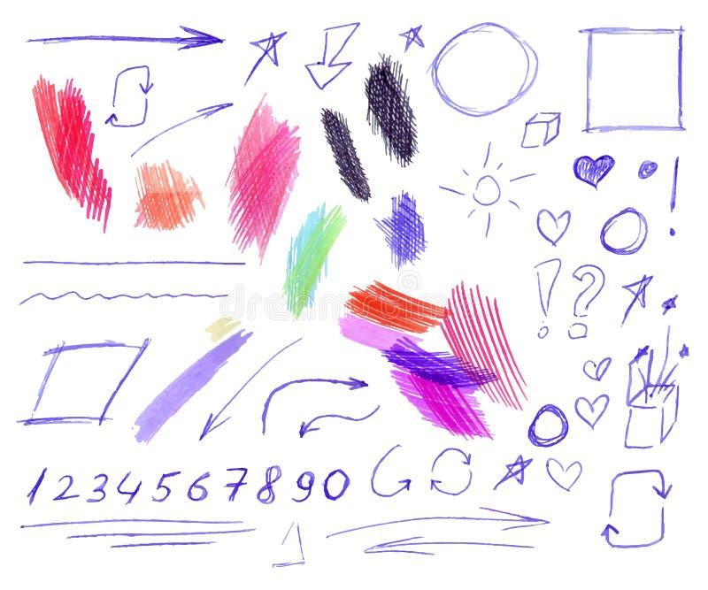 Vektorn ställde in av färgrik penna och att rita att klottra isolerade teckningar, utdragen illustration för hand stock illustrationer