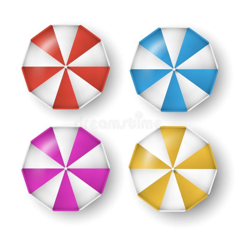 Vektorn ställde in av färgrika paraplyer med skuggor som isolerades på vit bakgrund royaltyfria bilder