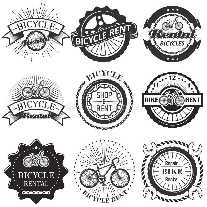 Vektorn ställde in av för emblemetiketter för cykel uthyrnings- logo royaltyfri illustrationer