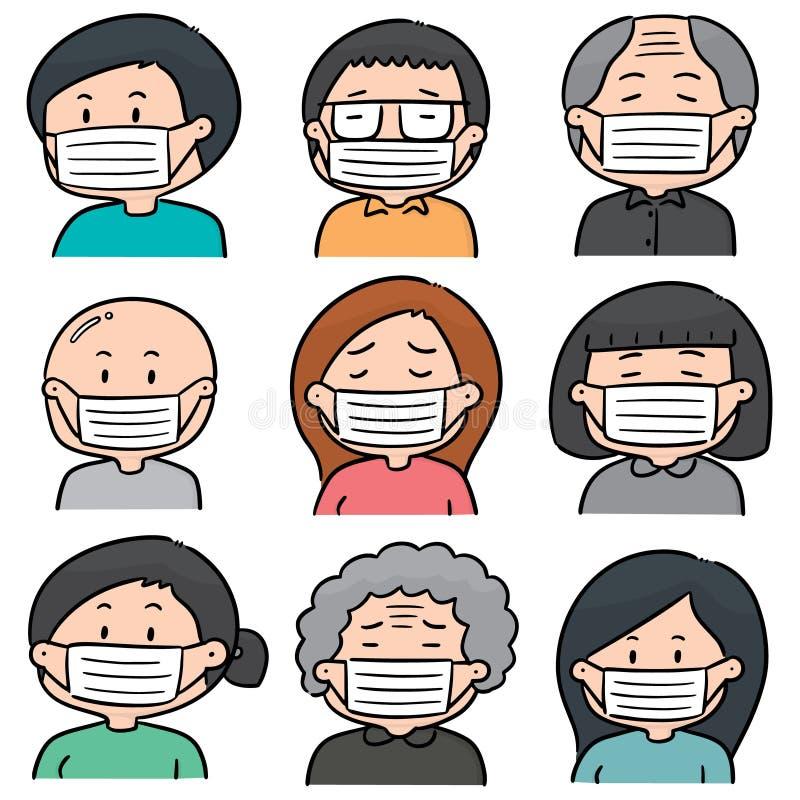 Vektorn ställde in av folk som använder den medicinska skyddande maskeringen vektor illustrationer