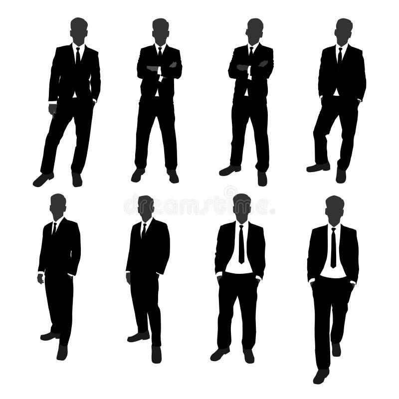 Vektorn ställde in av full kropp för ställningsaffärsmankontur affärsman med olik posera handling royaltyfri illustrationer