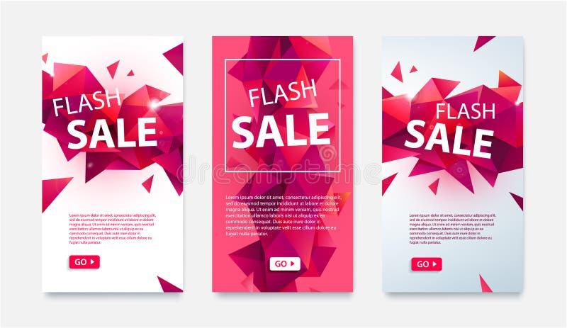 Vektorn ställde in av geometriska sociala massmediabaner för online-shopping, prålig försäljning Röda illustrationer för låg poly vektor illustrationer