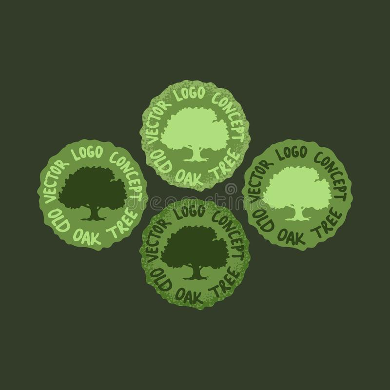 Vektorn ställde in av gröna etiketter med stora ekar Eco och naturalistiska Logo Concept Designer för symbol för Grungehand utdra vektor illustrationer