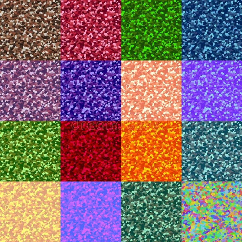Vektorn ställde in av grained abstrakta modeller i olika färger stock illustrationer