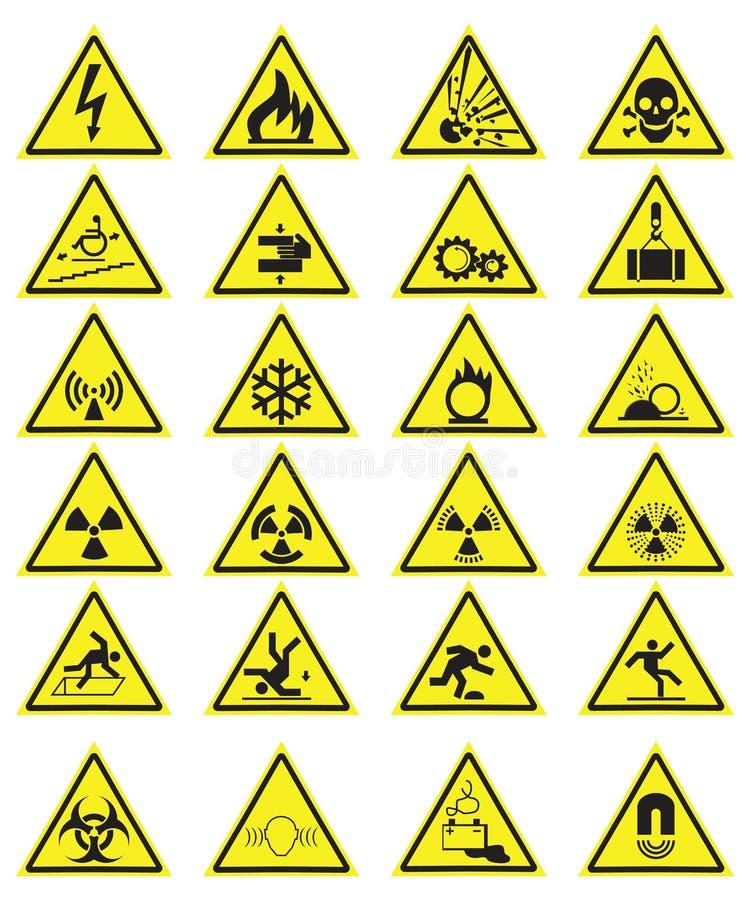 Vektorn ställde in av gula varnande symboler för triangel royaltyfri illustrationer