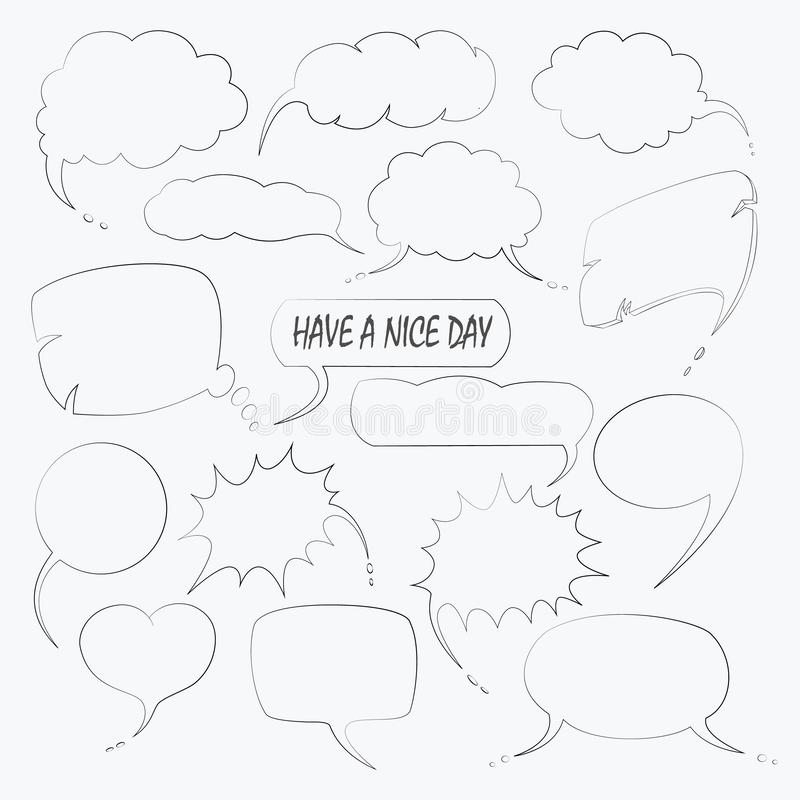 Vektorn ställde in av gullig anförandebubbla med text i klotterstil vektor illustrationer
