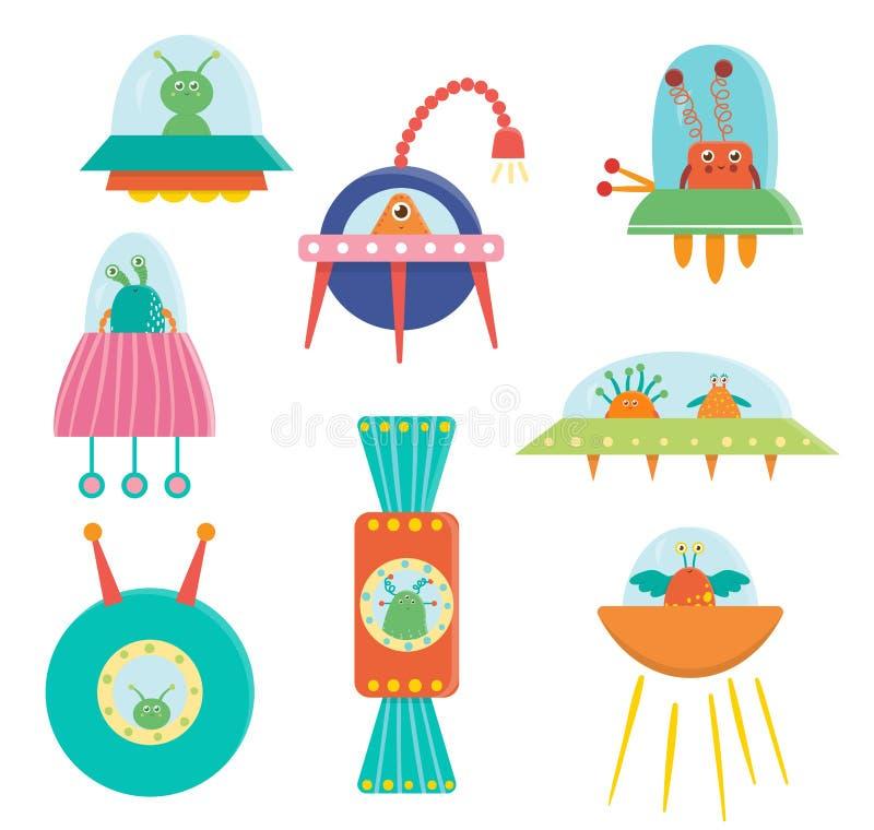 Vektorn ställde in av gulliga främlingar, ufo, ufon för barn vektor illustrationer
