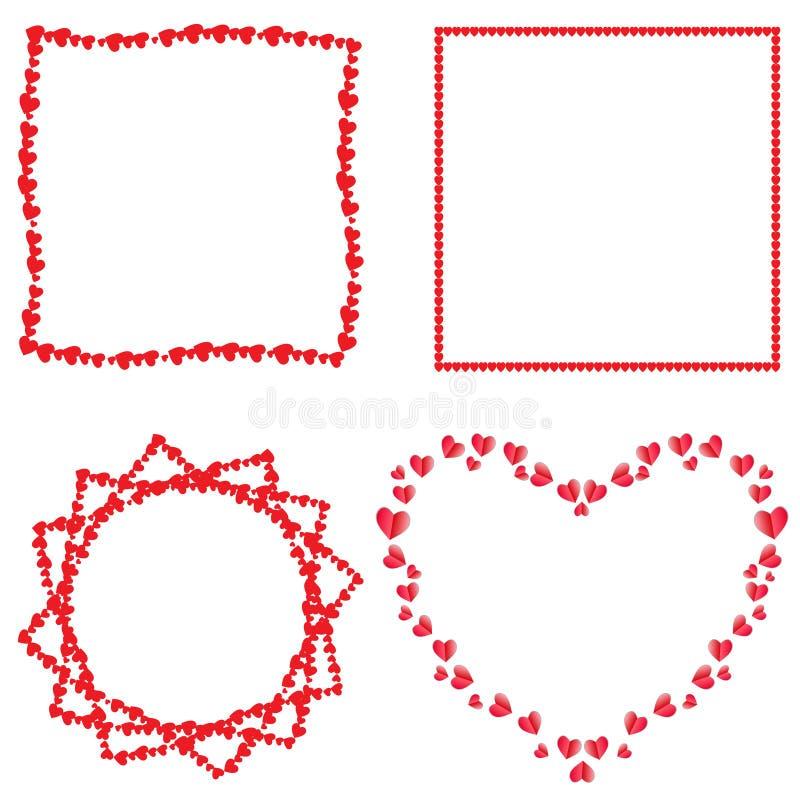 Vektorn ställde in av gulliga röda förälskelsehjärtaramar för romantisk design vektor illustrationer