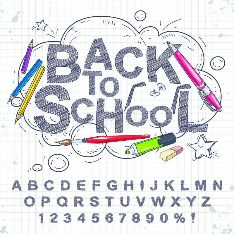 Vektorn ställde in av handskriftbokstäver och siffror Penna en uppsättning av blyertspennor på bakgrunden av ett anteckningsbokar arkivfoto
