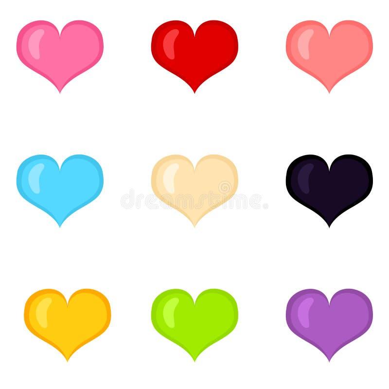 Vektorn ställde in av hjärtaShape för färg plana symboler vektor illustrationer