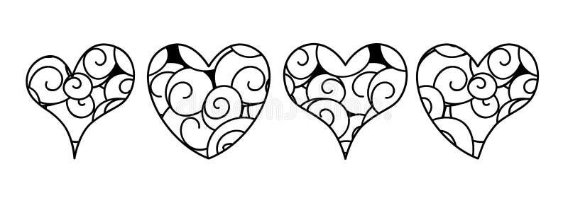 Vektorn ställde in av hjärtor i zenklotterstil med virvlar vektor illustrationer