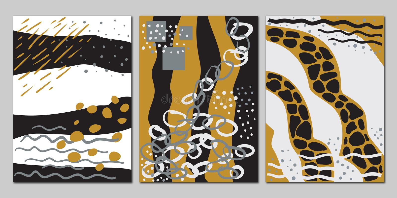 Vektorn ställde in av idérika universella abstrakta kort royaltyfri illustrationer