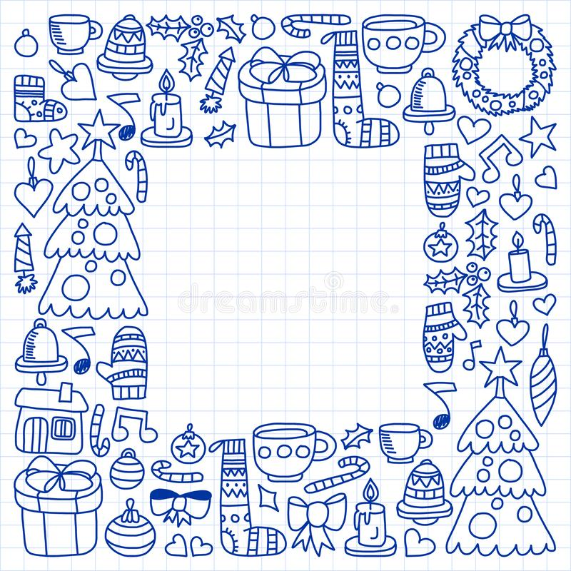 Vektorn ställde in av jul, feriesymboler i klotterstil Målat dragit med en penna, på ett ark av rutigt papper på a stock illustrationer
