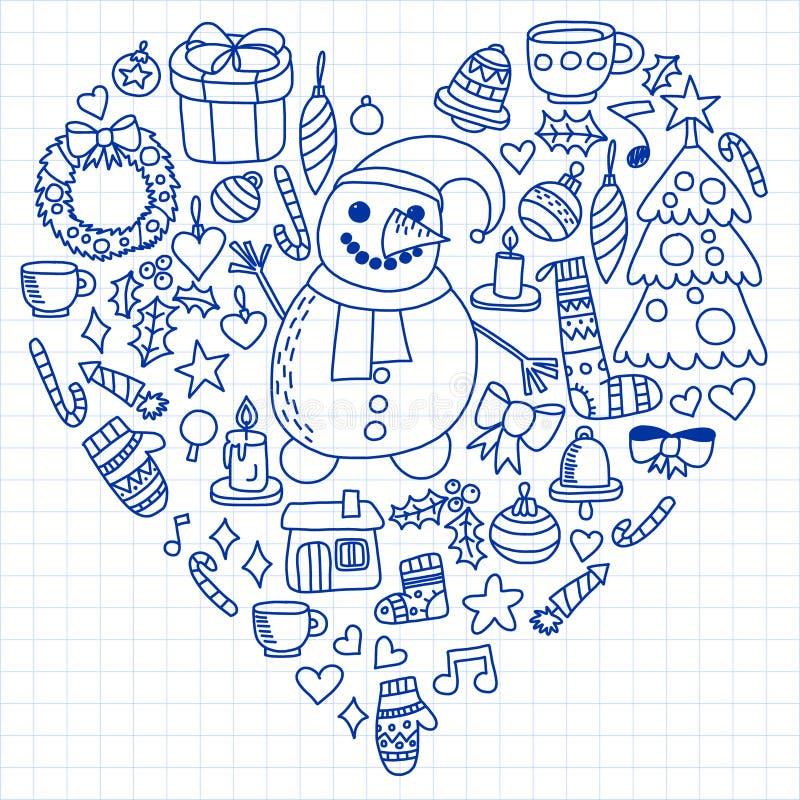 Vektorn ställde in av jul, feriesymboler i klotterstil Målat dragit med en penna, på ett ark av rutigt papper på a vektor illustrationer