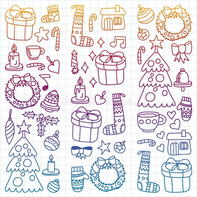 Vektorn ställde in av jul, feriesymboler i klotterstil Målat färgrikt, lutning, på ett ark av rutigt papper på a royaltyfri illustrationer