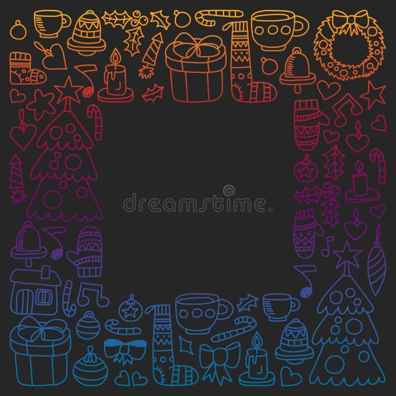 Vektorn ställde in av jul, feriesymboler i klotterstil Målat färgrikt, lutningbilder på ett stycke av papper på stock illustrationer