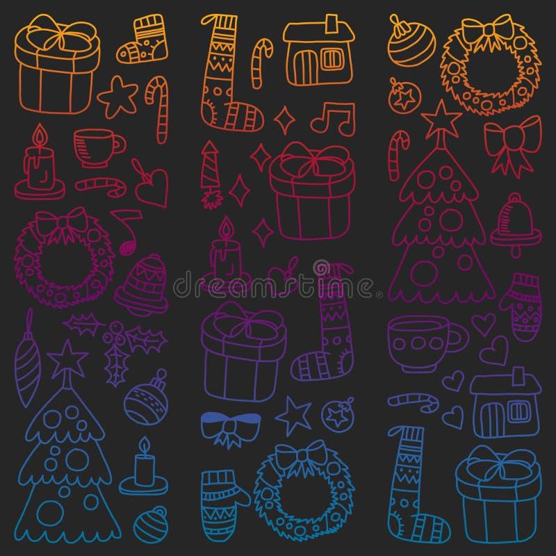 Vektorn ställde in av jul, feriesymboler i klotterstil Målat färgrikt, lutningbilder på ett stycke av papper på vektor illustrationer