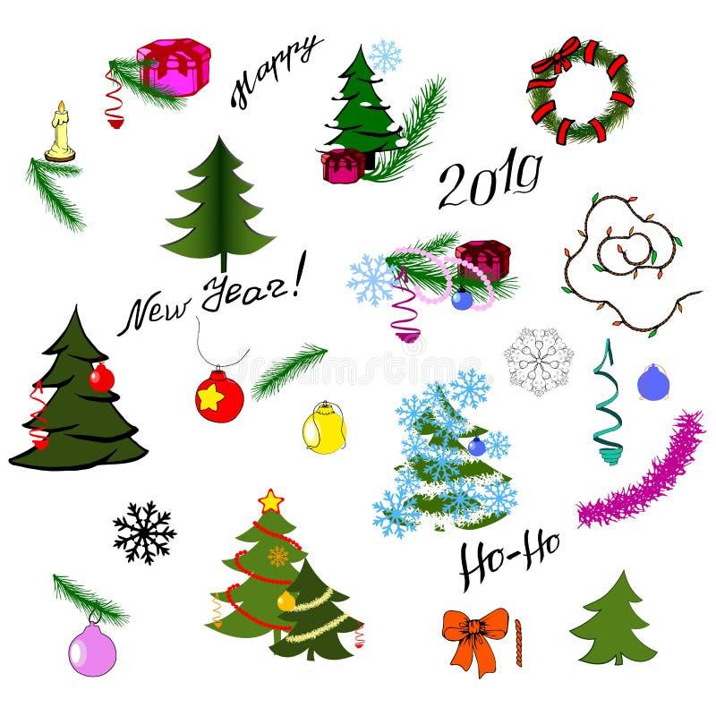 Vektorn ställde in av jul och vinterbeståndsdelar stock illustrationer