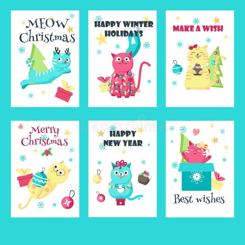 Vektorn ställde in av julkort med gulliga katter vektor illustrationer