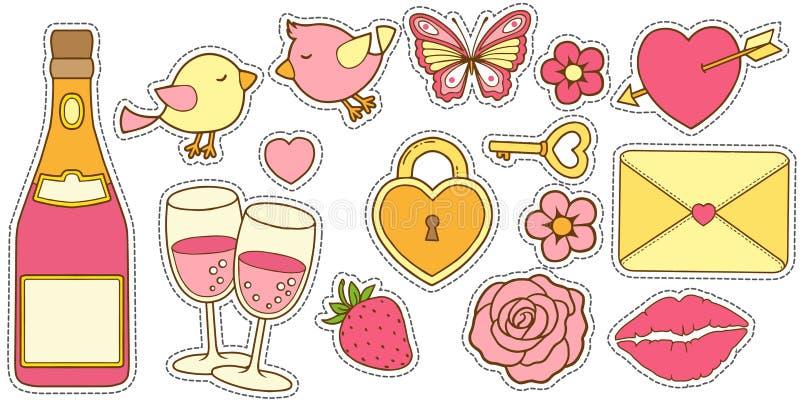 Vektorn ställde in av kärlekshistoria i färgerna av rosa och gult En klistermärke för att planlägga inbjudningar för den gifta si vektor illustrationer