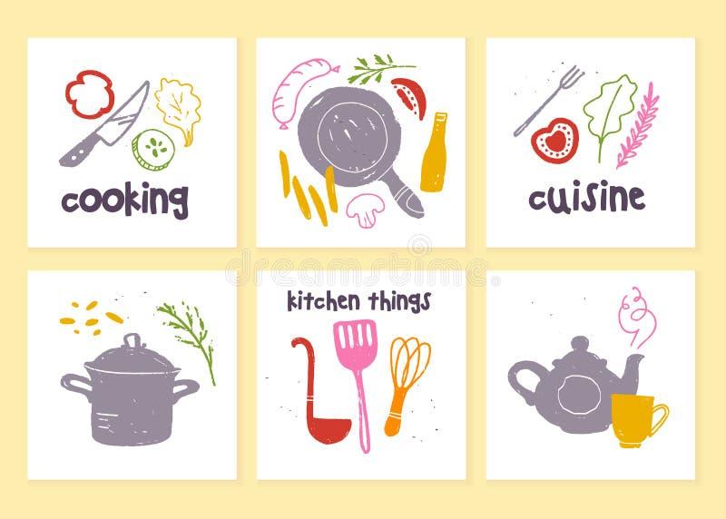 Vektorn ställde in av köketiketter för menydesignen, svart tavlateckningen, annonsering, logoprövkopior, etiketter, att förpacka, vektor illustrationer