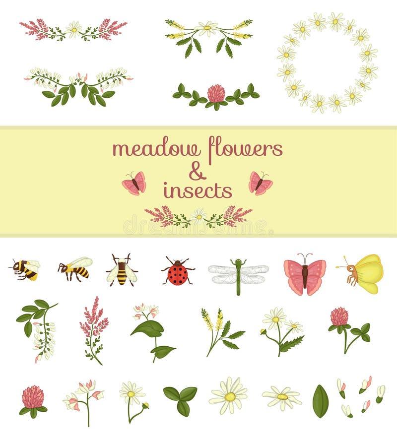 Vektorn ställde in av kulöra beståndsdelar och kryp för lösa blommor vektor illustrationer