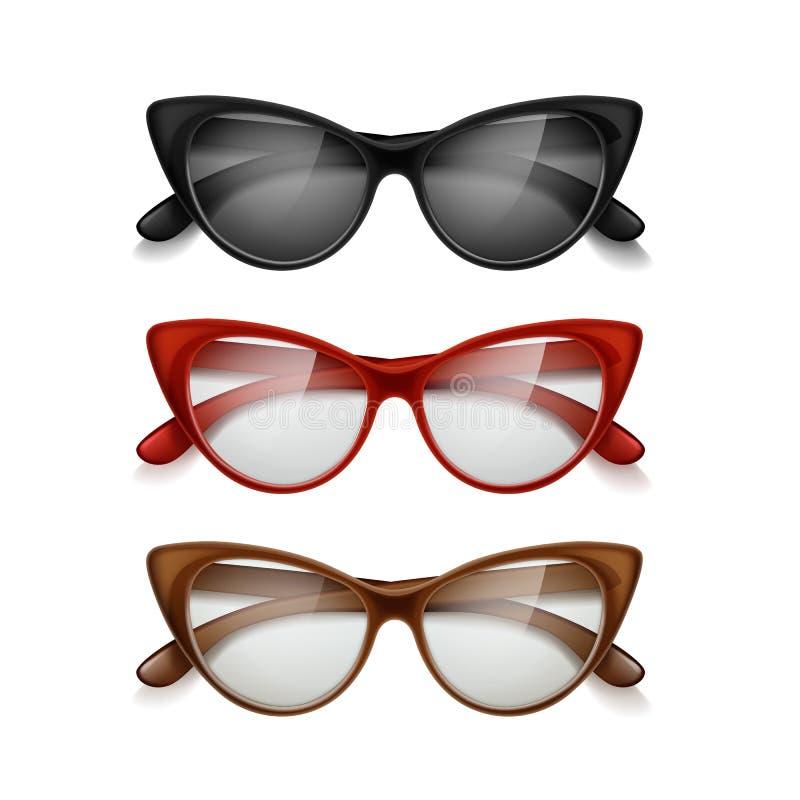 Vektorn ställde in av kvinnors olika färger för solglasögon i retro stil isolerat på bakgrund stock illustrationer