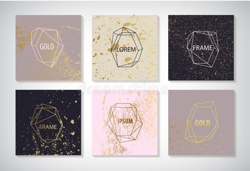 Vektorn ställde in av linjen guld- ramar, kort med textur Bröllopinbjudan sparar datumkortdesignen med elegant folie vektor illustrationer