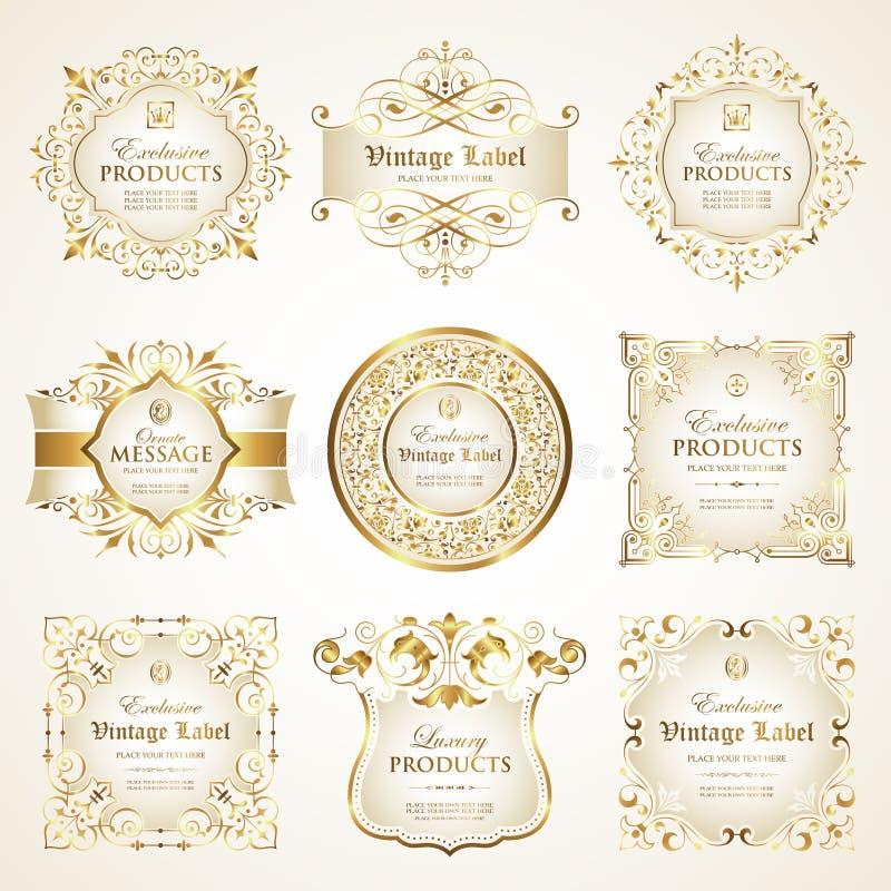 Vektorn ställde in av lyxig utsmyckad vit guld-inramad etikett royaltyfri illustrationer