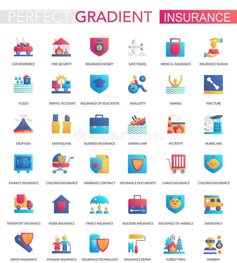 Vektorn ställde in av moderiktiga plana lutningförsäkringsymboler stock illustrationer